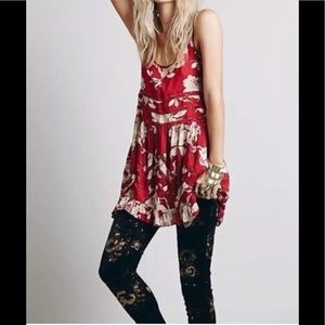 Free People red floral Voile lace trapeze dress